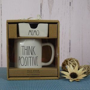 Rae Dunn THINK POSITIVE Mug MEMO Gift Set